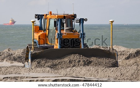 Big Bulldozer on a dredging project in holland