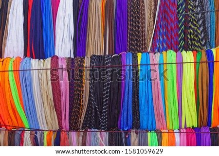 Big bunch of new colorful shoelaces strings