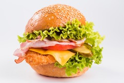 Big burger on a white background close up