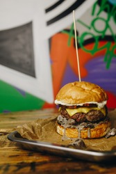 big burger on graffiti background