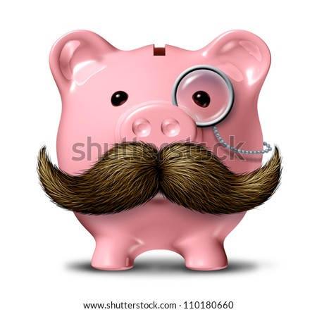Big business and financial wealth symbol as a piggy bank  with a big mustache and a monocle as a finance concept of getting rich by saving money on a white background.