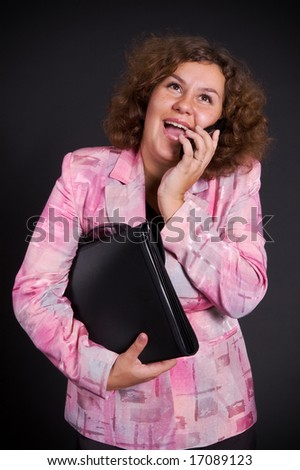 big businesswoman talking on mobile phone