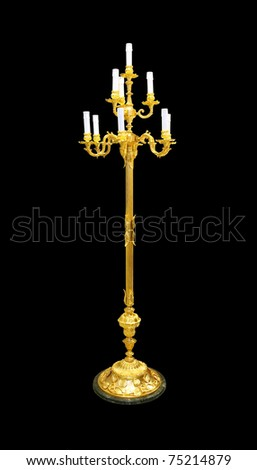 Big candlestick with gold handle with clipping path included