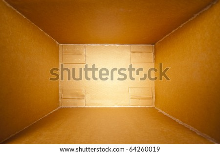 Big cardboard open delivery box. Perspective view