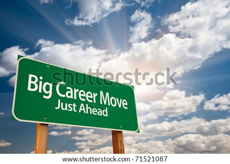 Big Career Move Green Road Sign with Dramatic Clouds, Sun Rays and Sky.