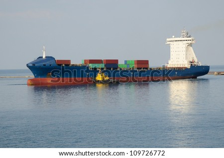 Big cargo ship in sea port