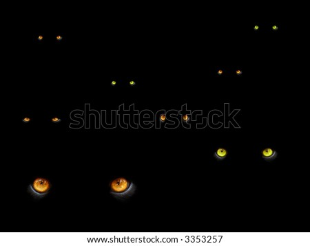 big cats eyes in the dark