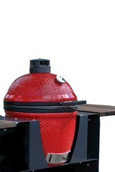 Big Ceramic Red Egg BBQ Grill. Kamado Barbecue Charcoal Grill For Cookout Food. Ceramic Barbeque Grill And Smoker Isolated On White Background.