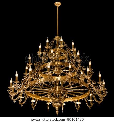 Big chandelier isolated on black