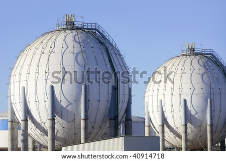 Big chemical tank petrol container on oil petrochemical industry