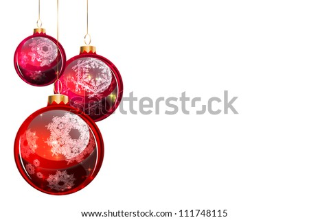 Big Christmas balls with decoration isolated on white