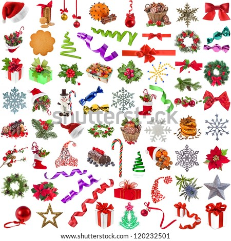 Big christmas collection set of different colorful close up objects , isolated on a white background