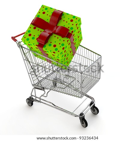 Big christmas gift in a shopping cart