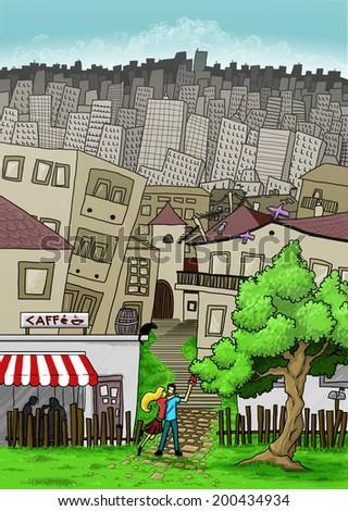 big city and suburbia