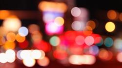 Big city lights - blurry Las Vegas night out of focus.