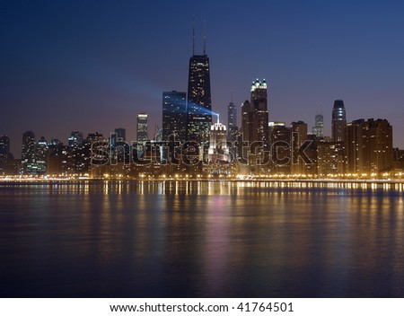 Big City Lights.  Chicago Illinois and its Lake Michigan waterfront.