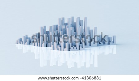 big city skyline panorama on clean background