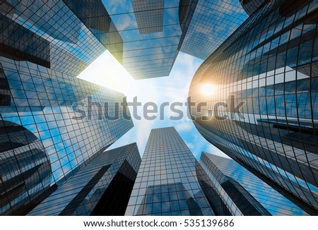 Big city skyscrapers background with bright sun shining. 3D rendering.