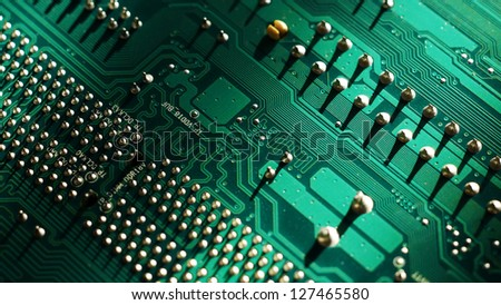 Big Close Up of Motherboard or Mainboard.