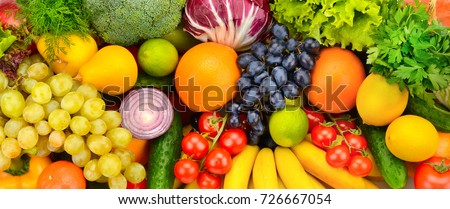 Big collection fresh fruits and vegetables. Top view. - Shutterstock ID 726667054