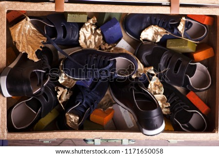 Big collection of different sport shoes,Pile of various men shoes isolated over white, with clipping path. #1171650058
