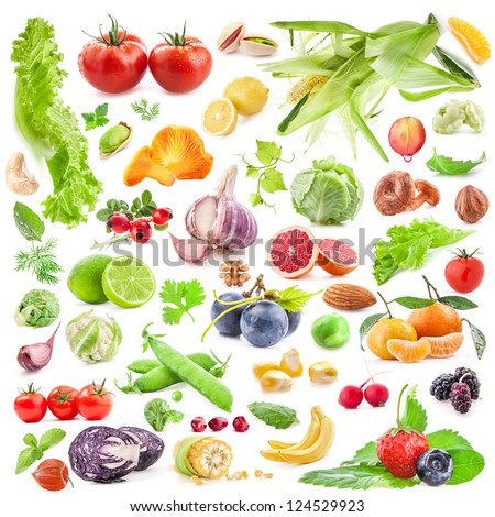 Big Collection of fruits and vegetables isolated on white background