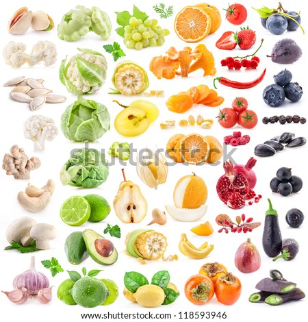 Big collection of fruits and vegetables on white background