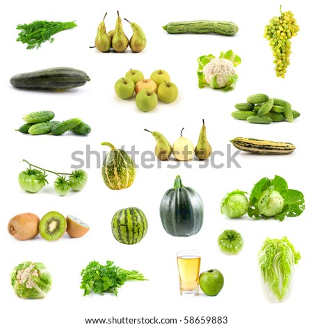 Big collection of green vegetables and fruits on white background