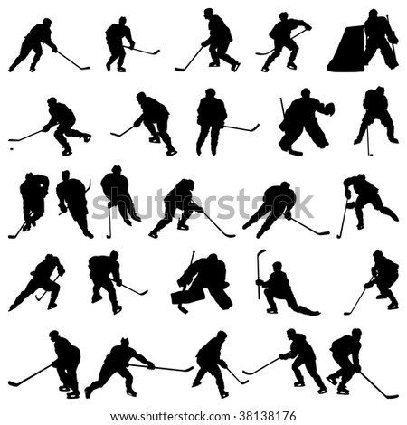 Big collection of  ice hockey players silhouettes