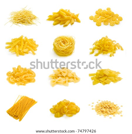 Big collection of italian pasta portion isolated on white background