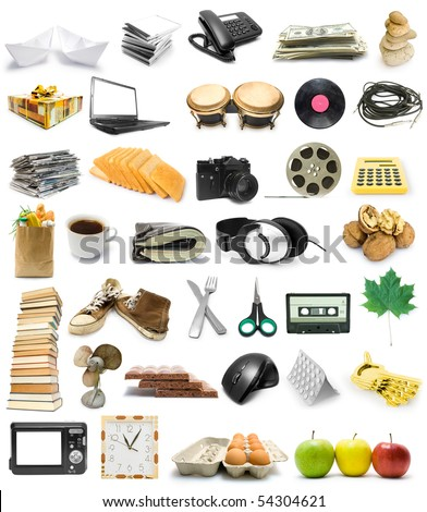 Big collection of objects isolated on white background