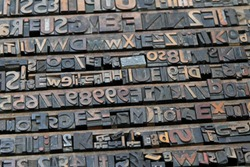Big Collection of Old Style Retro Lithograph Print Letters