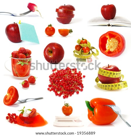 Big collection of red fruits and vegetables isolated