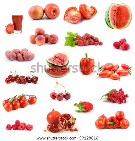 Big collection of red vegetables and fruits on white background