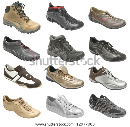 big collection of sport shoes isolated on white - stock photo