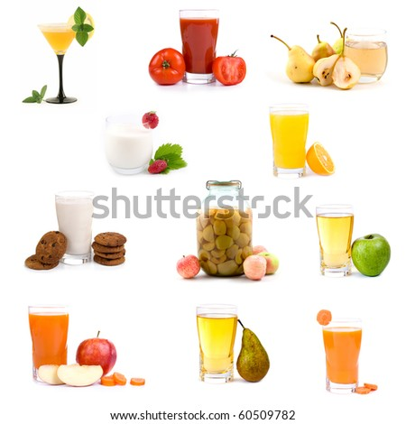 Big collection of various healthy drinks on a white background
