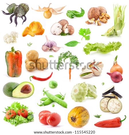 Big collection of vegetables food isolated on white background