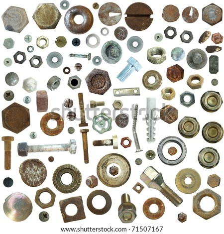 Big collection old rusty Screw heads, bolts, steel nuts,old metal nail, isolated on white background