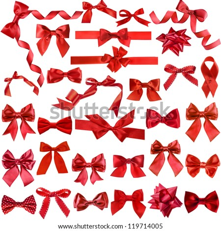 Big collection set of red gift ribbon bows close up isolated on white background