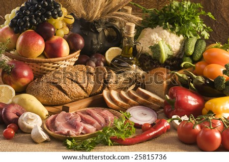 Big collection with food, fruits and vegetables