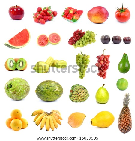 Big collection with lots fruits on white .