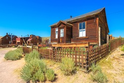 big colonial house of Donnelly of the 1800s, in Bodie state historic park, California Ghost Town. In the United States of America, close to Yosemite national park of 1800s.