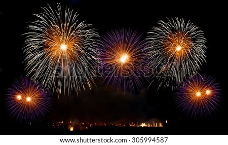 Big colorful fireworks explode in Malta in dark sky,Malta fireworks festival, 4 July, Independence, fireworks explode, New Year, fireworks in Zurrieq isolated in dark background with place for text