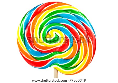 Big colorful lollipop isolated on white background.