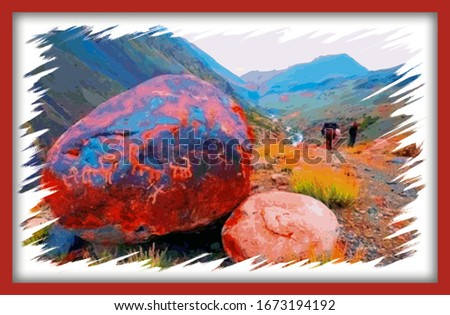 Big colorful mountain stones, nature scene painting for website and desktop,textile and fabric print,decorative wallpaper,book cover,card,advertising and various purposes