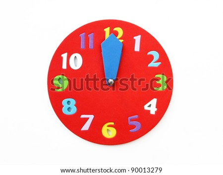 Big Colorful Red Clock with Midnight or Noon Time