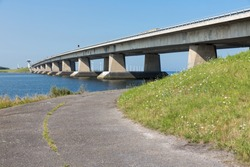 Big concrete bridge in the Netherlands and blue sky