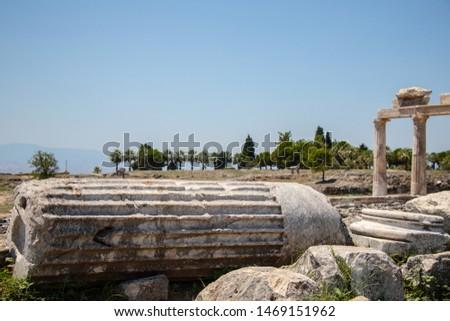 Big concrete column remains of an ancient building of ancient city.