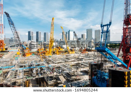 Big construction crane working in big construction site in Tokyo Japan stock photo
