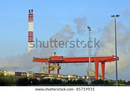 big container crane in the harbor of antwerp belgium